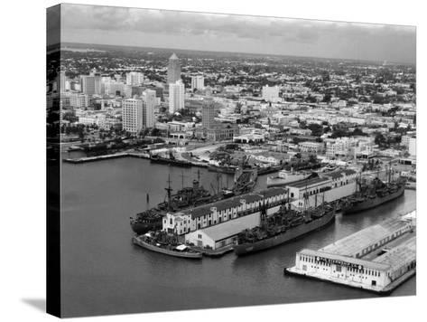World War Ii-Era Warships Docked at the Port of Miami, C.1948--Stretched Canvas Print