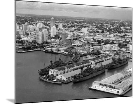 World War Ii-Era Warships Docked at the Port of Miami, C.1948--Mounted Photographic Print