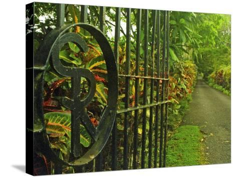 Monogrammed Entrance Gates of Villa Vailima, Apia, Samoa--Stretched Canvas Print