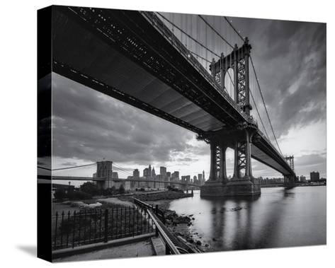 Manhattan Bridge Cloudy Sunset-Henri Silberman-Stretched Canvas Print