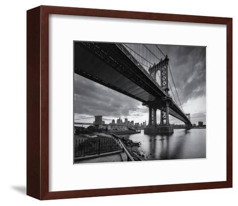 Manhattan Bridge Cloudy Sunset-Henri Silberman-Framed Art Print