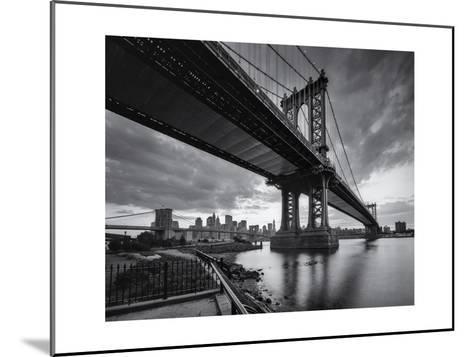 Manhattan Bridge Cloudy Sunset-Henri Silberman-Mounted Photographic Print