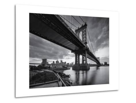 Manhattan Bridge Cloudy Sunset-Henri Silberman-Metal Print