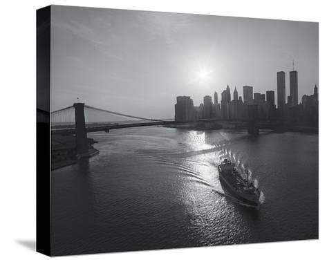 Manhattan Harbor Sunset Boat-Henri Silberman-Stretched Canvas Print