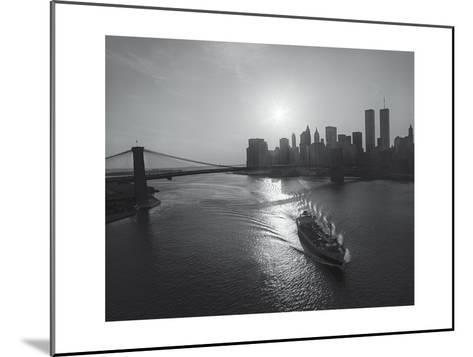 Manhattan Harbor Sunset Boat-Henri Silberman-Mounted Photographic Print