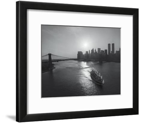 Manhattan Harbor Sunset Boat-Henri Silberman-Framed Art Print