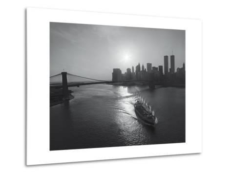 Manhattan Harbor Sunset Boat-Henri Silberman-Metal Print