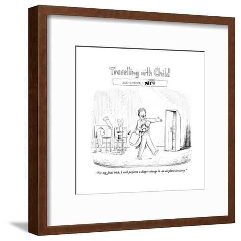 """""""For my final trick, I will perform a diaper change in an airplane lavator - Cartoon-Tom Toro-Framed Art Print"""