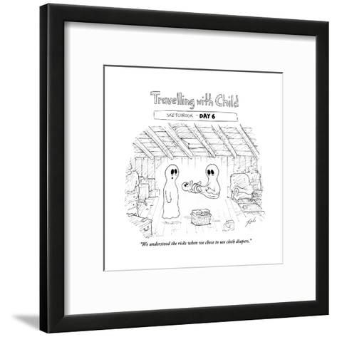 """We understood the risks when we chose to use cloth diapers."" - Cartoon-Tom Toro-Framed Art Print"