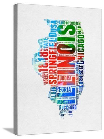 Illinois Watercolor Word Cloud-NaxArt-Stretched Canvas Print