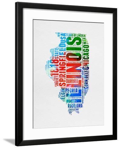 Illinois Watercolor Word Cloud-NaxArt-Framed Art Print