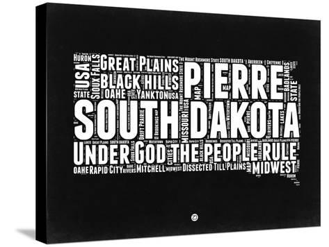 South Dakota Black and White Map-NaxArt-Stretched Canvas Print