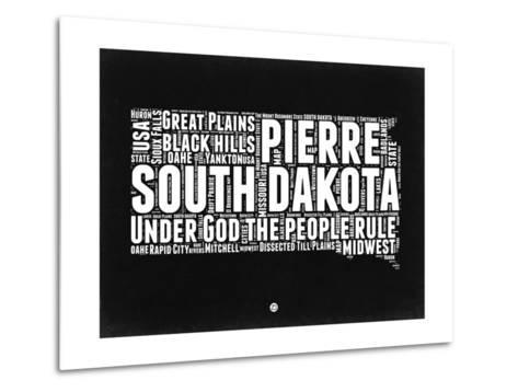South Dakota Black and White Map-NaxArt-Metal Print