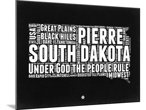South Dakota Black and White Map-NaxArt-Mounted Art Print