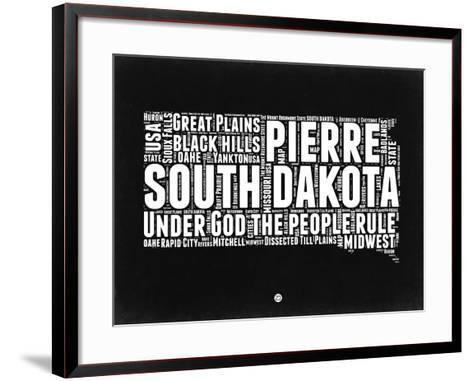 South Dakota Black and White Map-NaxArt-Framed Art Print