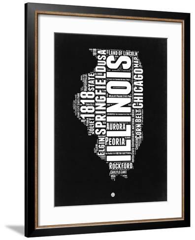 Illinois Black and White Map-NaxArt-Framed Art Print