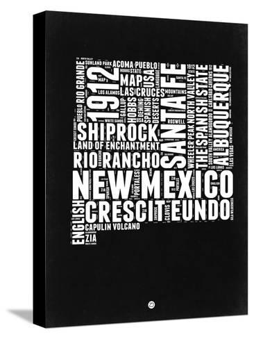 New Mexico Black and White Map-NaxArt-Stretched Canvas Print