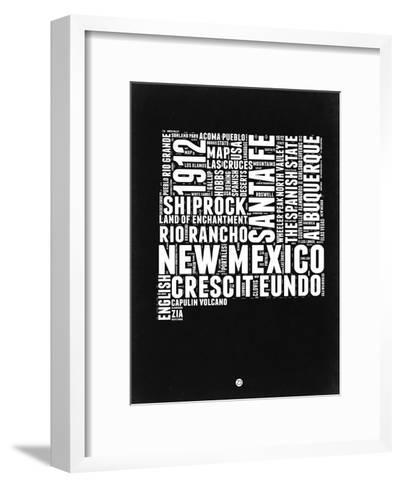New Mexico Black and White Map-NaxArt-Framed Art Print