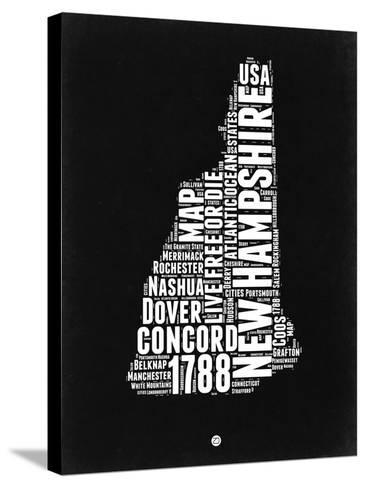 New Hampshire Black and White Map-NaxArt-Stretched Canvas Print