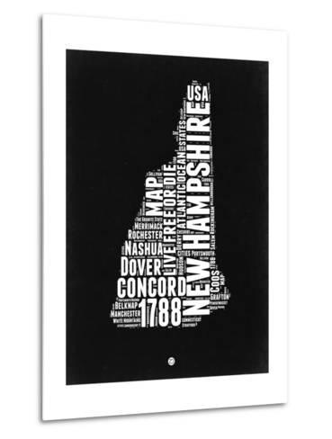 New Hampshire Black and White Map-NaxArt-Metal Print