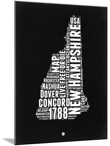 New Hampshire Black and White Map-NaxArt-Mounted Art Print
