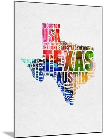Texas Watercolor Word Cloud-NaxArt-Mounted Art Print