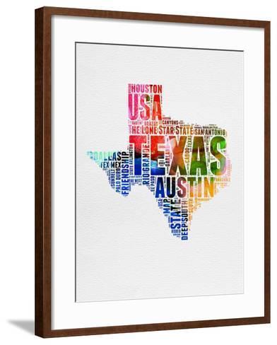 Texas Watercolor Word Cloud-NaxArt-Framed Art Print