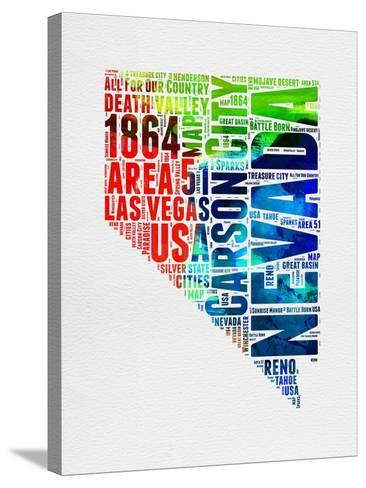 Nevada Watercolor Word Cloud-NaxArt-Stretched Canvas Print