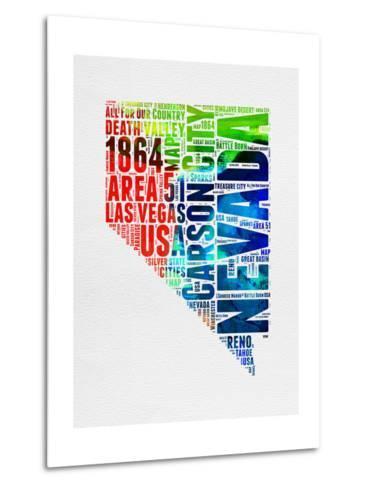 Nevada Watercolor Word Cloud-NaxArt-Metal Print