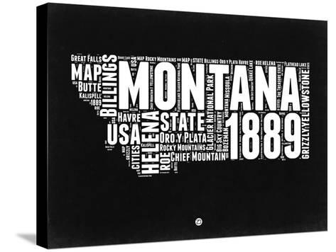 Montana Black and White Map-NaxArt-Stretched Canvas Print