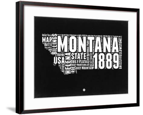Montana Black and White Map-NaxArt-Framed Art Print