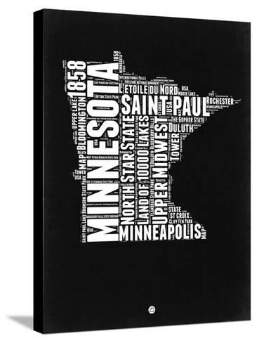 Minnesota Black and White Map-NaxArt-Stretched Canvas Print