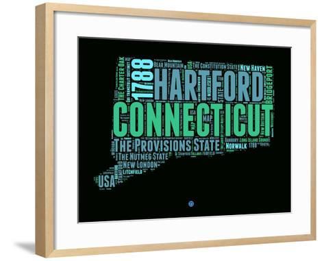 Connecticut Word Cloud 1-NaxArt-Framed Art Print
