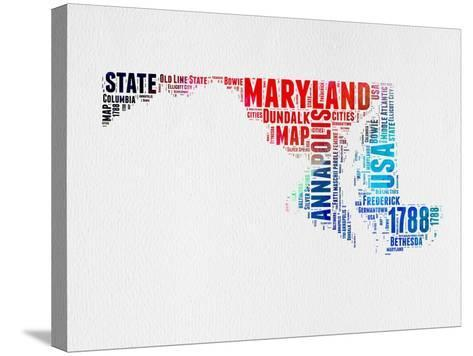 Maryland Watercolor Word Cloud-NaxArt-Stretched Canvas Print