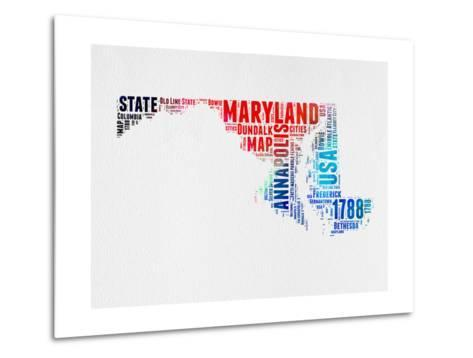 Maryland Watercolor Word Cloud-NaxArt-Metal Print
