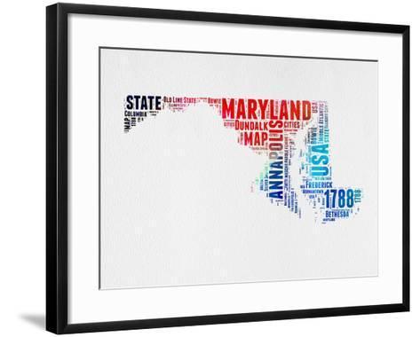 Maryland Watercolor Word Cloud-NaxArt-Framed Art Print