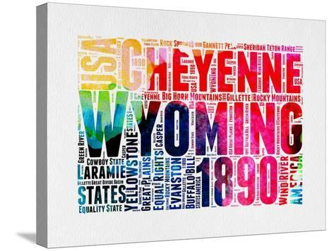 Wyoming Watercolor Word Cloud-NaxArt-Stretched Canvas Print