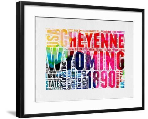 Wyoming Watercolor Word Cloud-NaxArt-Framed Art Print