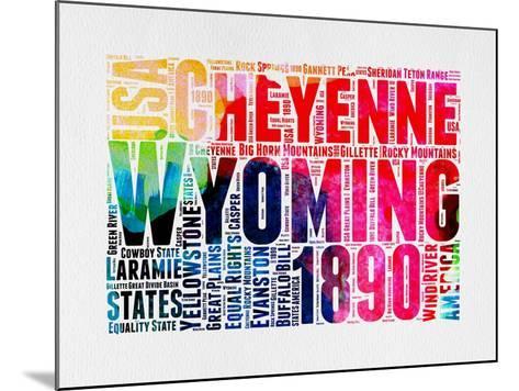 Wyoming Watercolor Word Cloud-NaxArt-Mounted Art Print