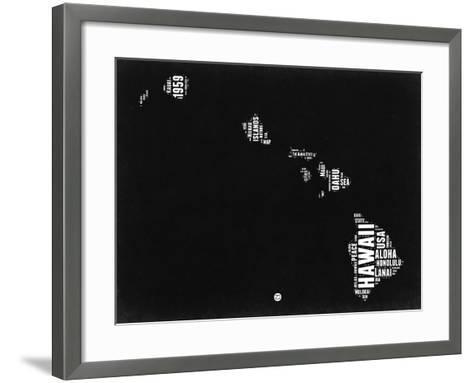 Hawaii Black and White Map-NaxArt-Framed Art Print
