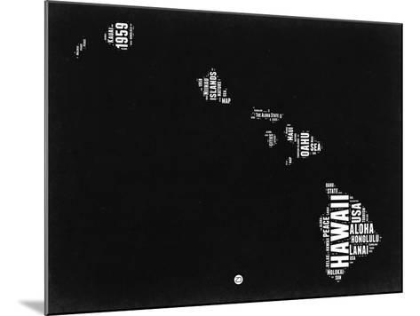 Hawaii Black and White Map-NaxArt-Mounted Art Print