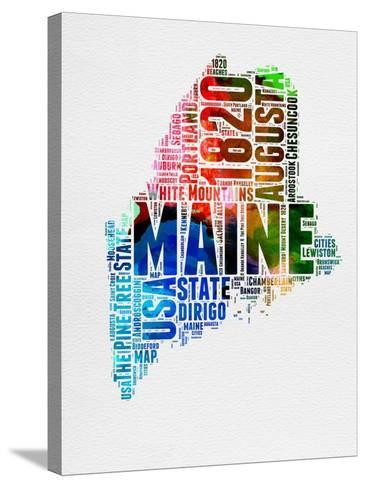 Maine Watercolor Word Cloud-NaxArt-Stretched Canvas Print