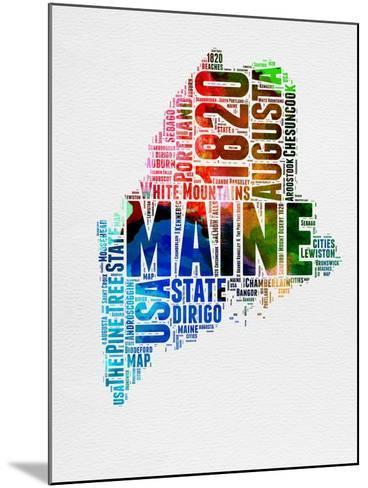 Maine Watercolor Word Cloud-NaxArt-Mounted Art Print