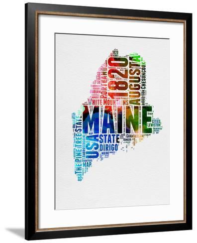 Maine Watercolor Word Cloud-NaxArt-Framed Art Print