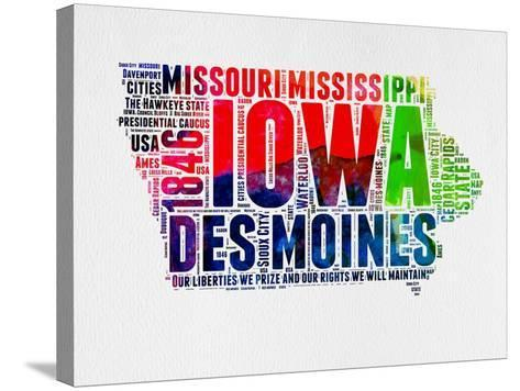 Iowa Watercolor Word Cloud-NaxArt-Stretched Canvas Print
