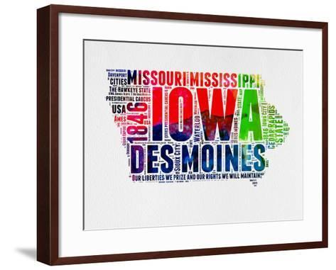 Iowa Watercolor Word Cloud-NaxArt-Framed Art Print