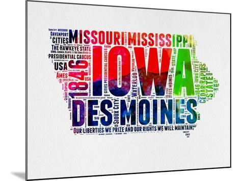 Iowa Watercolor Word Cloud-NaxArt-Mounted Art Print