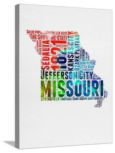 Missouri Watercolor Word Cloud-NaxArt-Stretched Canvas Print