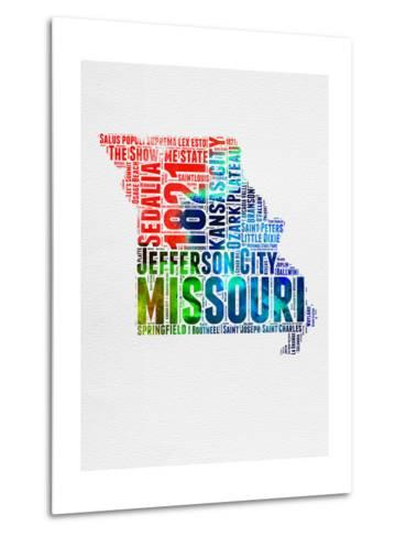 Missouri Watercolor Word Cloud-NaxArt-Metal Print