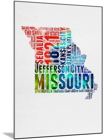 Missouri Watercolor Word Cloud-NaxArt-Mounted Art Print